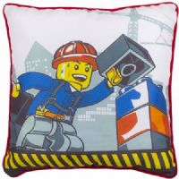 "Official Lego City Demolition ""Reversible"" Character Canvas Filled Cushion Pillow"